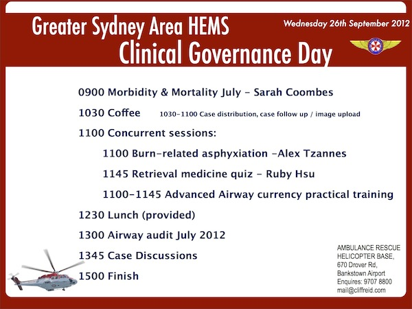 Clinical Governance Day 24th September 2014 | Greater Sydney Area HEMS