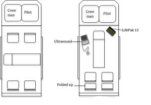 Standard configuration (left) vs space-optimised configuration (right)