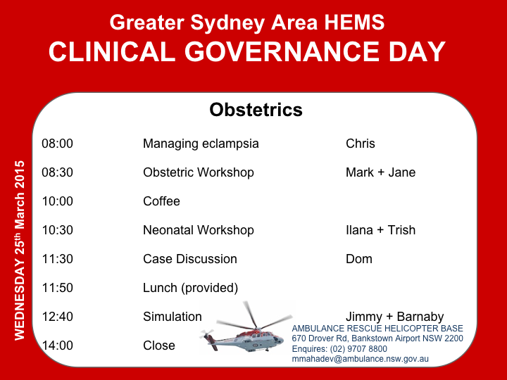 Clinical Governance Day 7th September 2016 | Greater Sydney Area HEMS